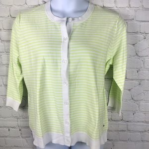 Eddie Bauer Lime White Striped Cardigan Sweater
